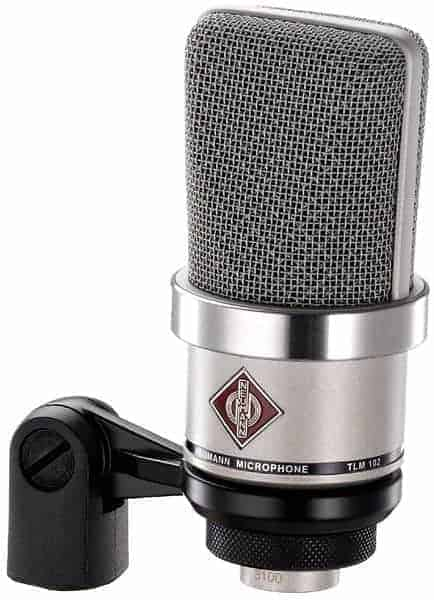 Neumann TLM 102 Large Diaphragm Cardioid Studio Microphone on Stand