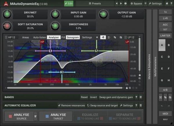 MELDA MAutoDynamicEq Interface
