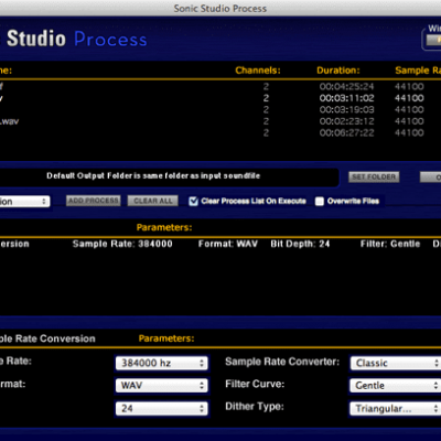 SONIC STUDIO Sonic Studio Process interface