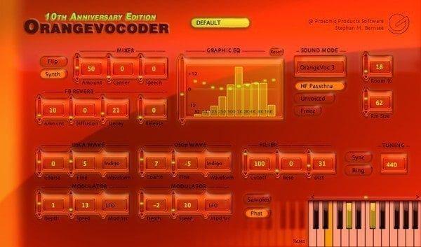 ZYNAPTIQ ORANGE VOCODER interface