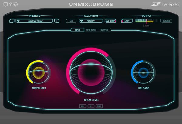 ZYNAPTIQ UNMIX::DRUMS interface