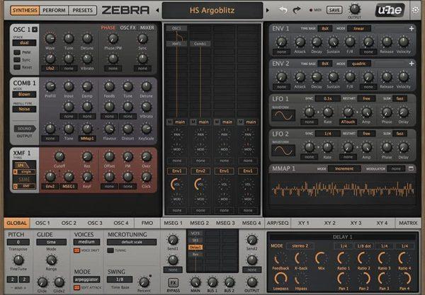 u-he Software u-He Zebra2 interface